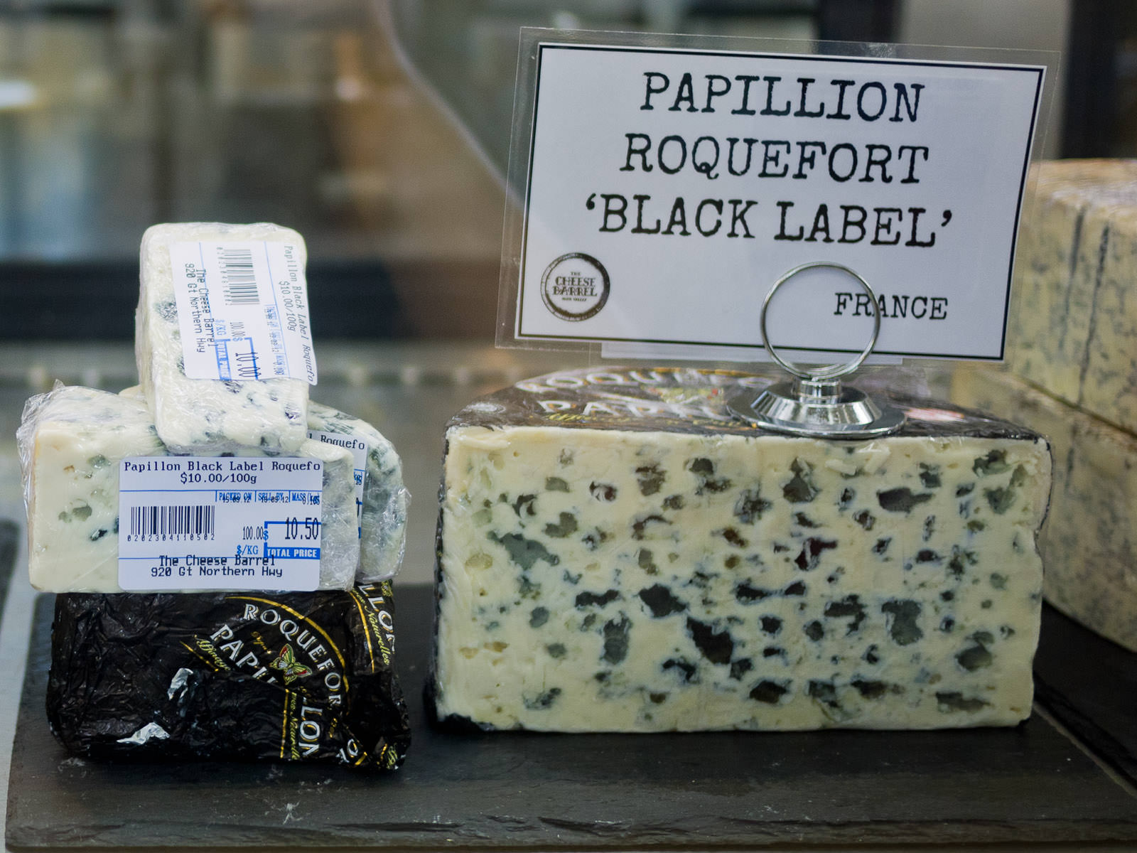 Papillion 'Black Label' Roquefort, blue mould ewe's milk cheese (France)