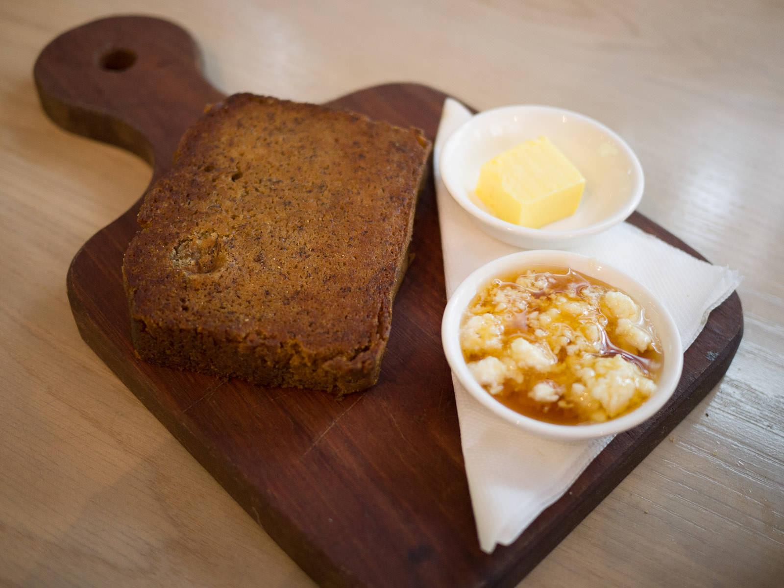 Banana bread (AU$7.50) with honey and ricotta