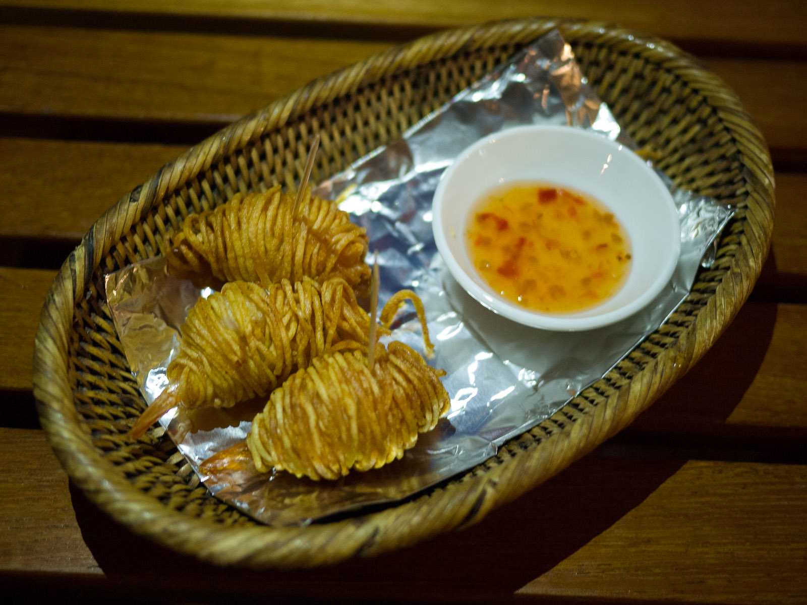 Potato-wrapped prawns (cocktail hour nibbles)