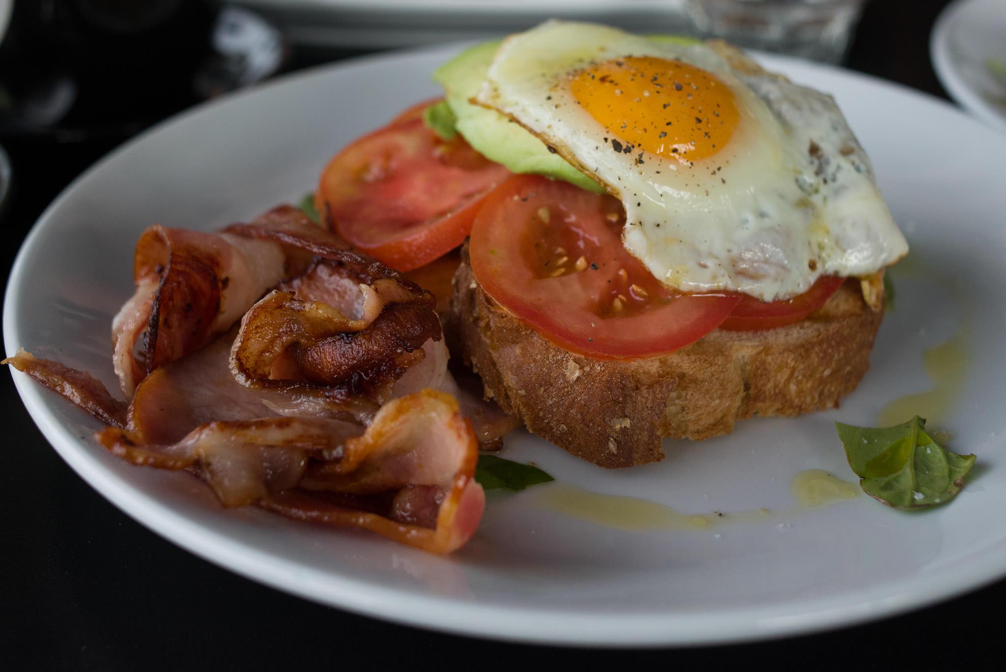 Avocado, fresh tomato, feta, basil on toast (AU$15.50)
