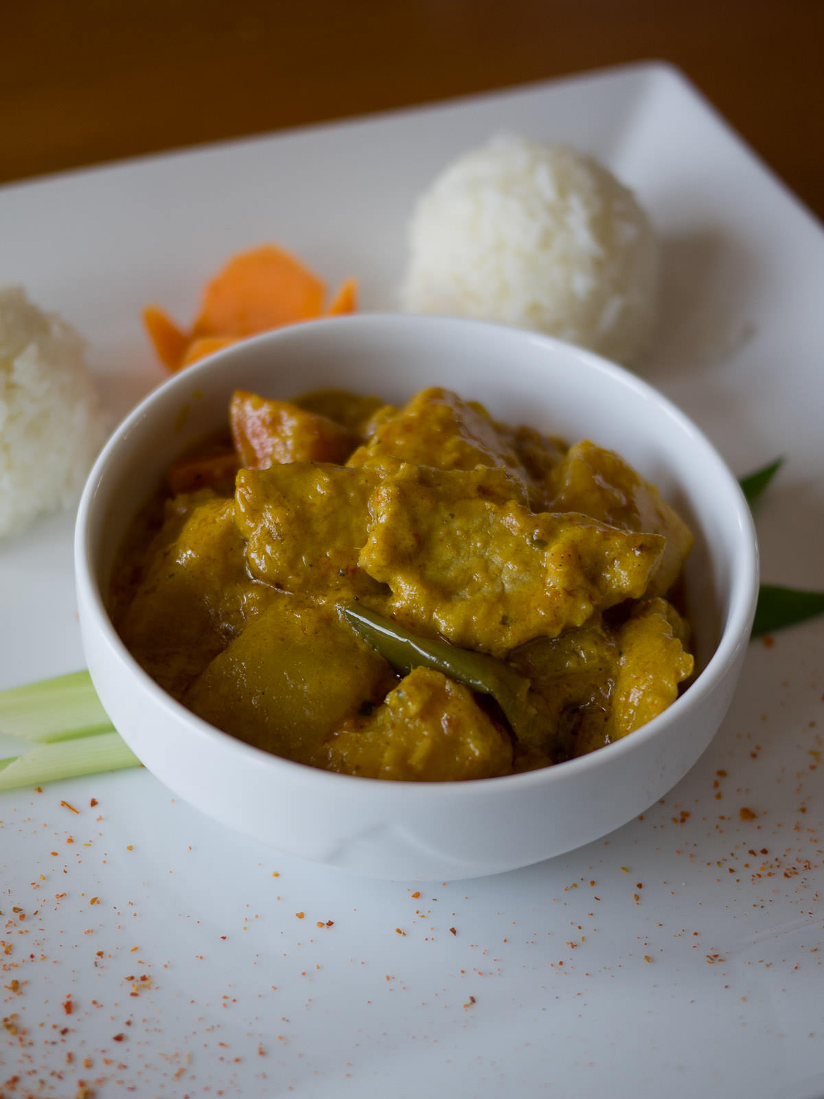 Pork curry Cambodian style with rice