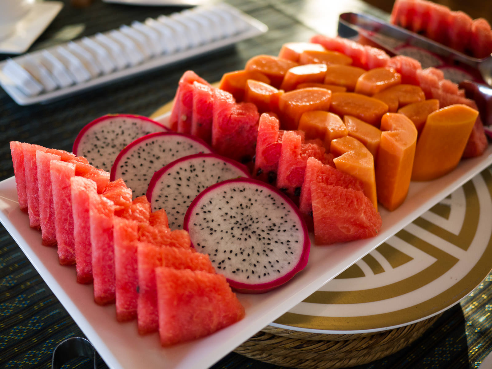 Watermelon, dragon fruit and papaya
