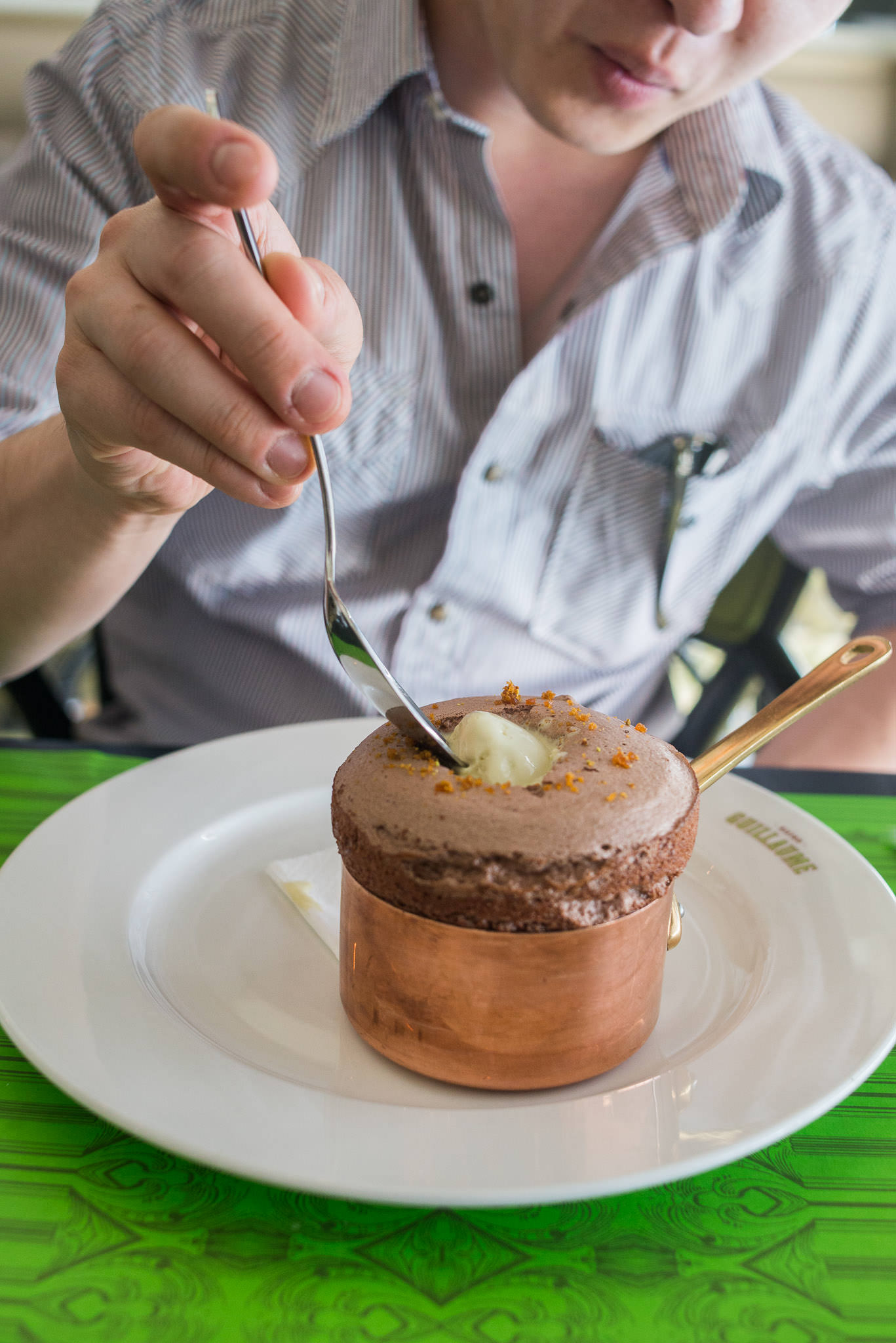 Chocolate soufflé with pistachio ice cream (AU$22)