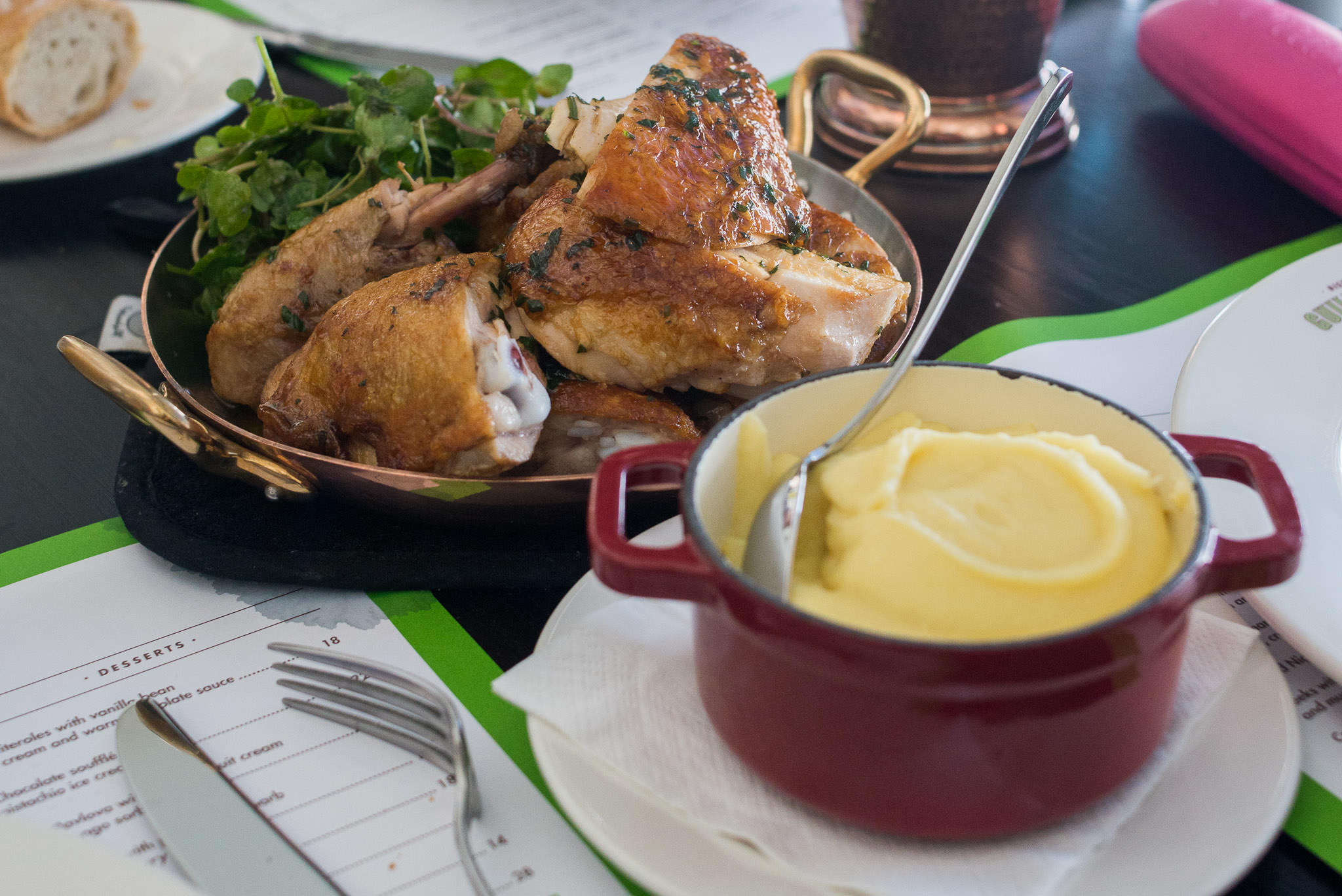 Roasted whole Liveringa organic chicken served with Paris mash and tarragon jus (AU$75 - dish for two)