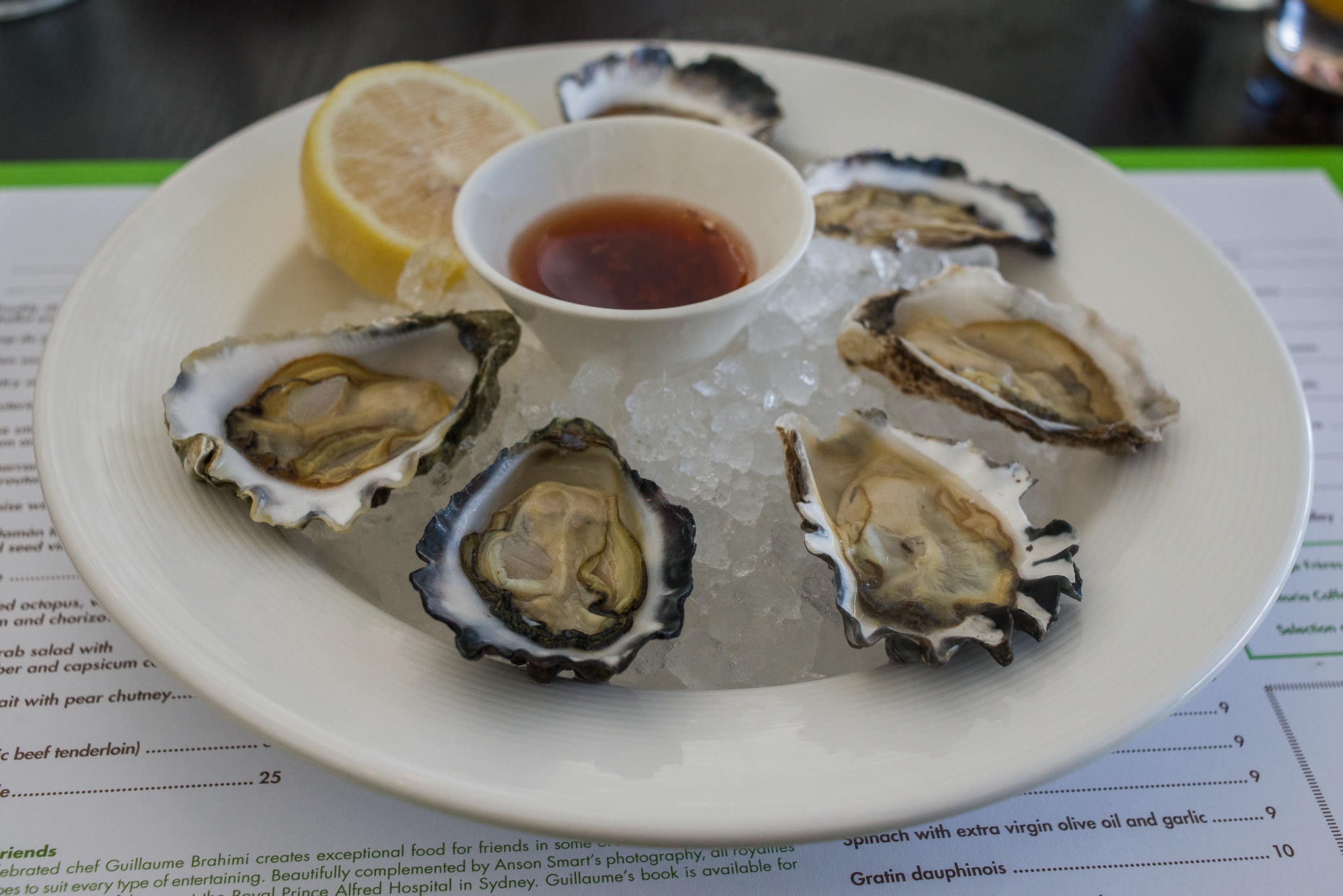 Freshly shucked oysters with shallot and red wine vinegar (AU$21 half dozen)
