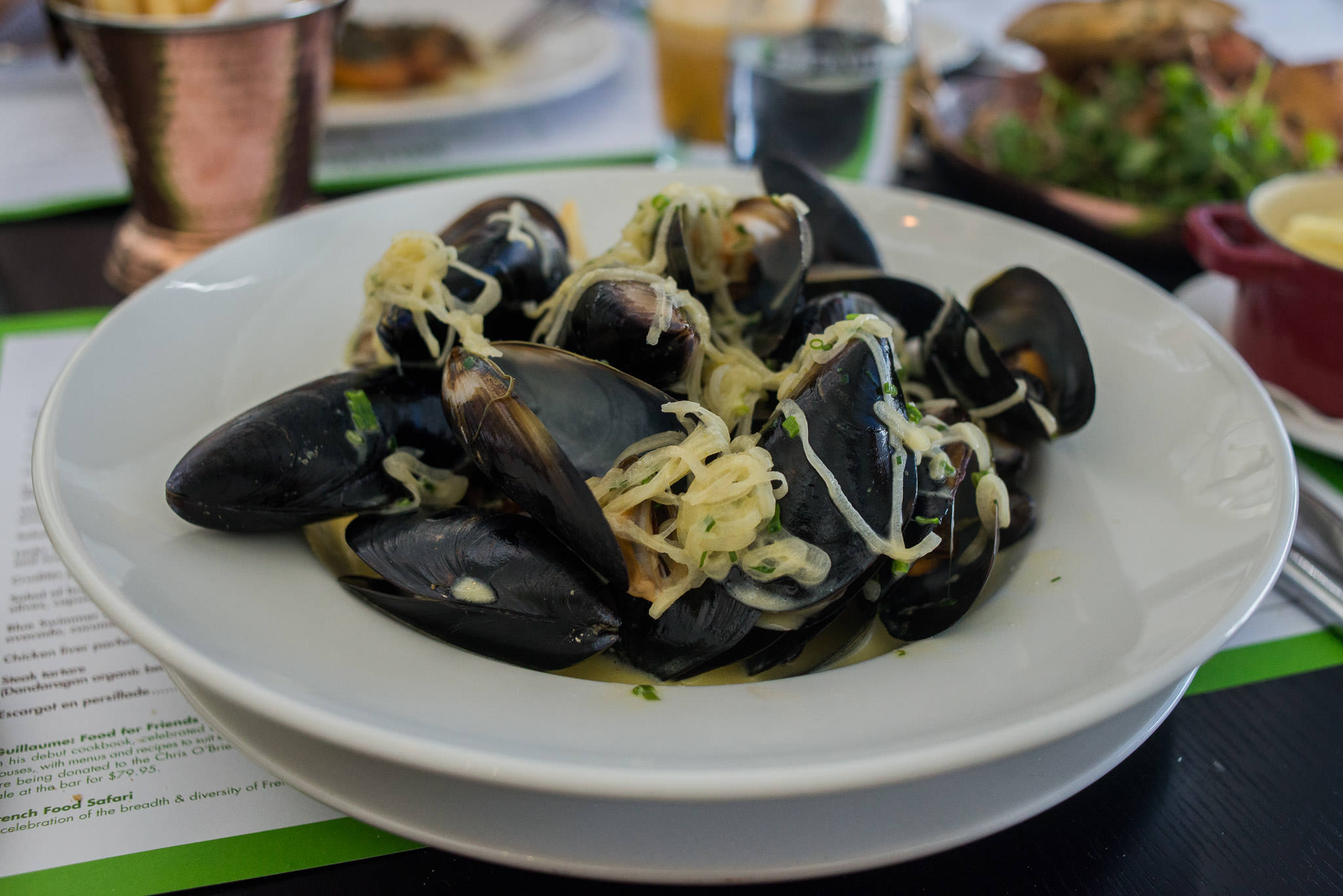 Mussels marinières with french fries (AU$30)