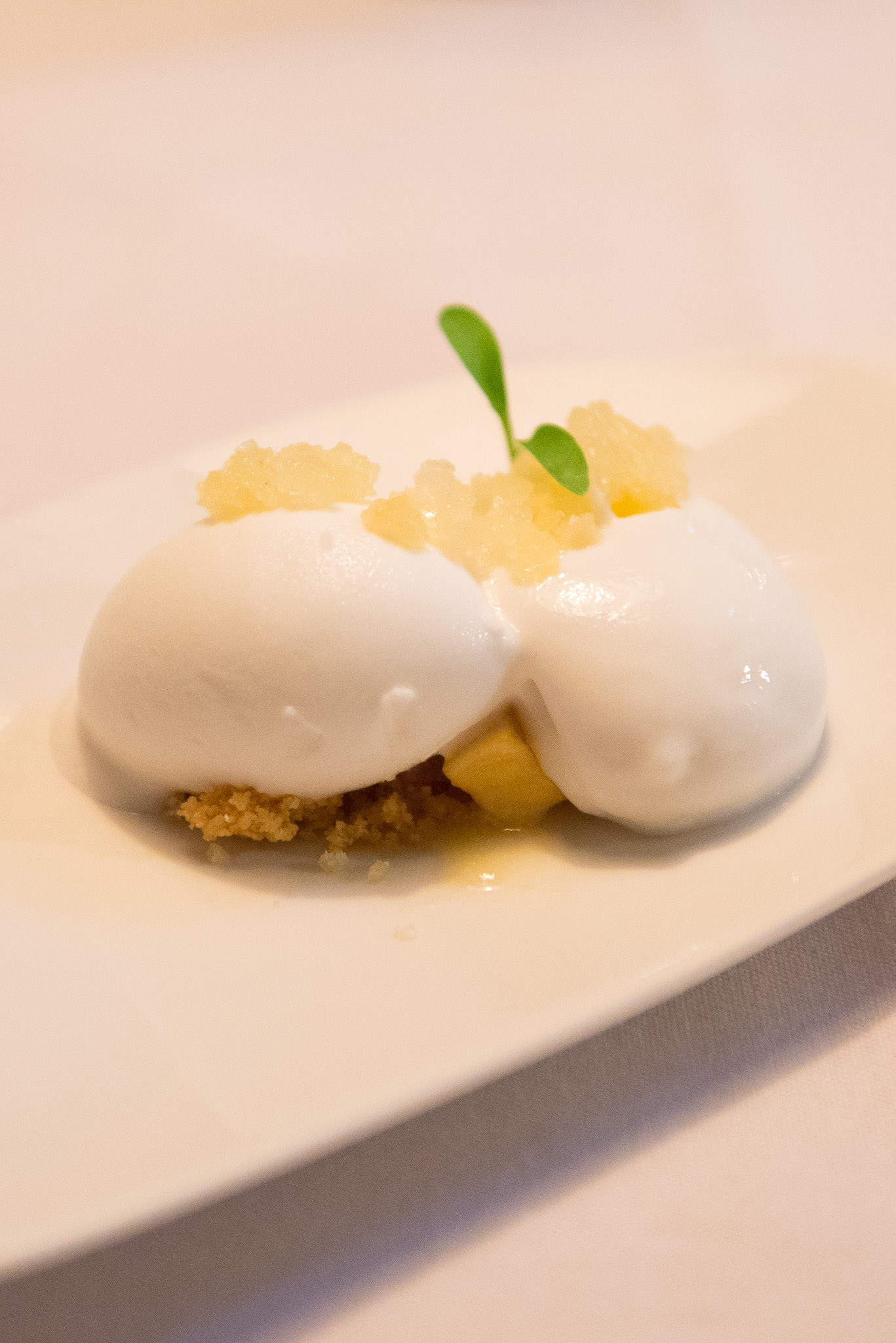 Palate cleanser: coconut sorbet, pineapple granita, compressed apple, coriander jelly, coconut foam, sesame soil