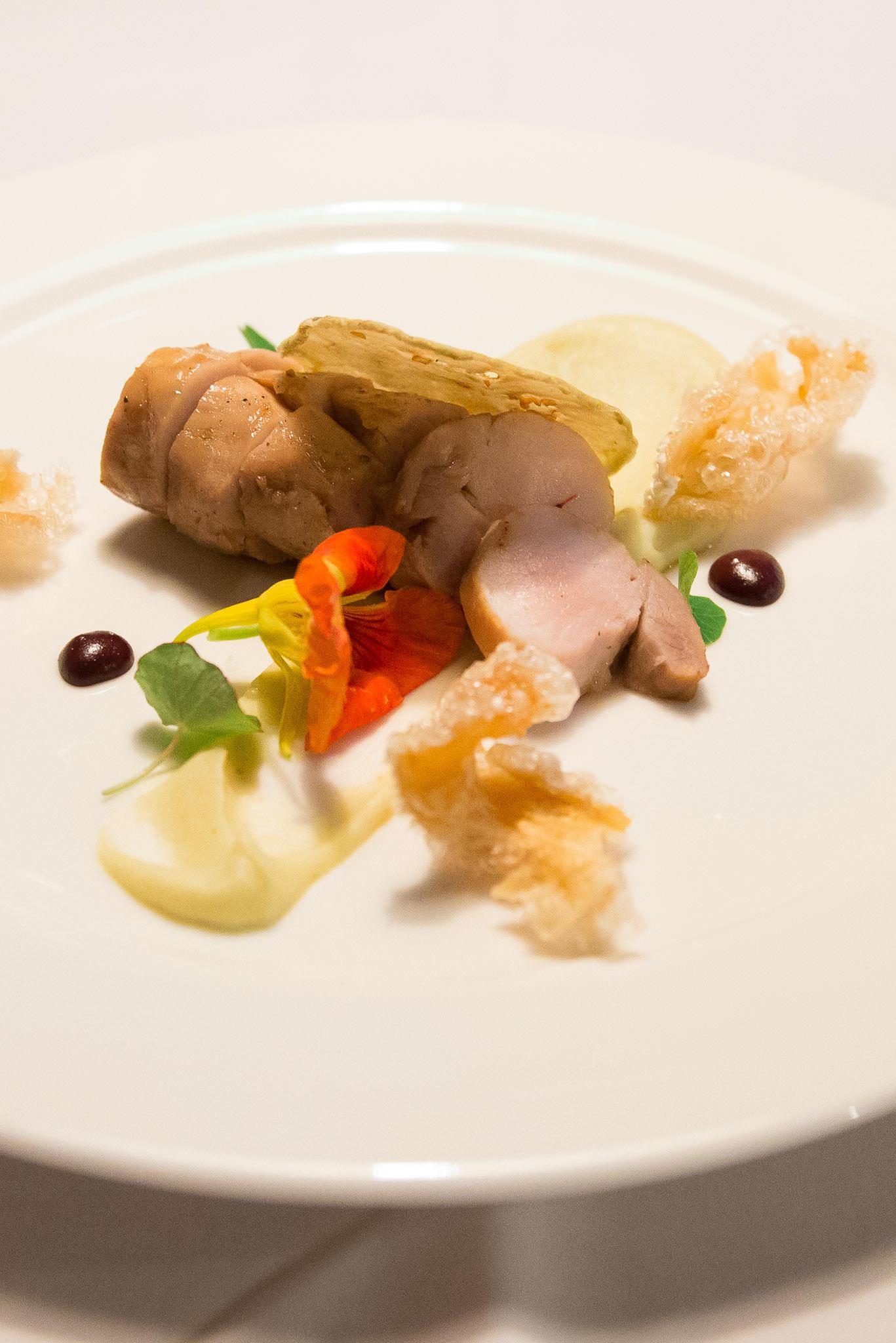 Glazed pork, white eggplant caviar, mustard, cassis, eggplant crisp