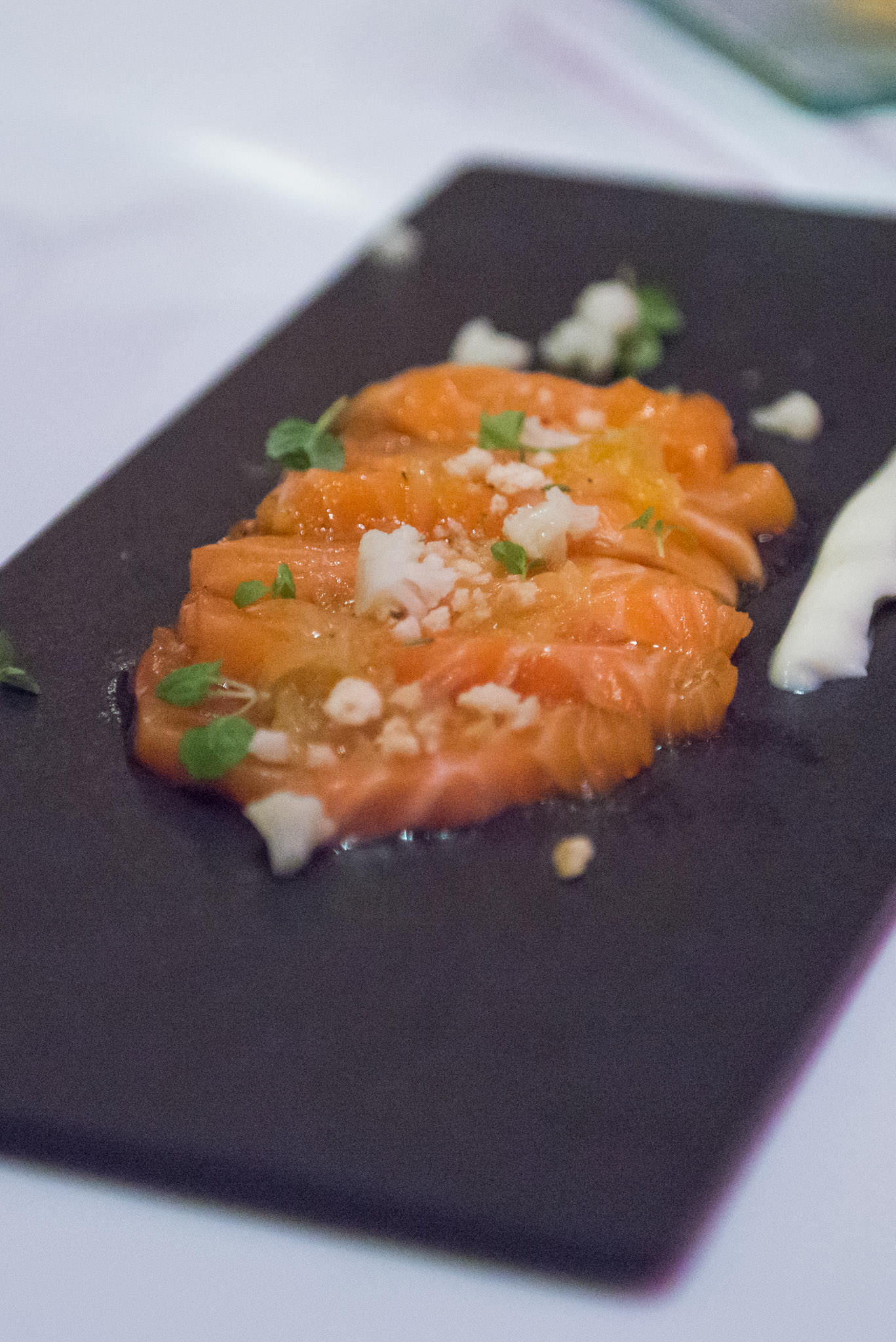 Cured Tasmanian salmon with cauliflower mousse and citrus dressing