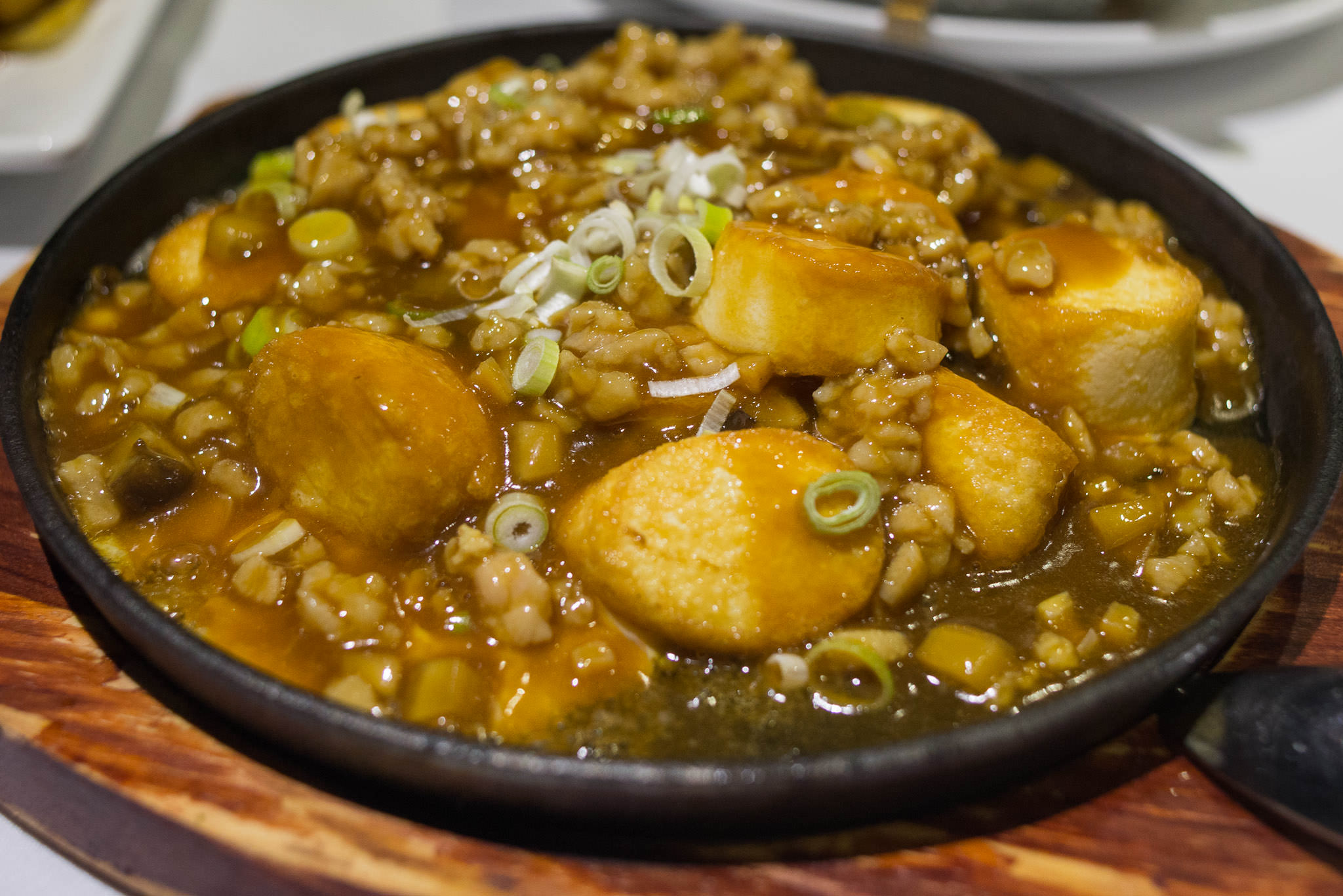 Sizzling Japanese tofu with diced chicken and salted fish (AU$15.80)