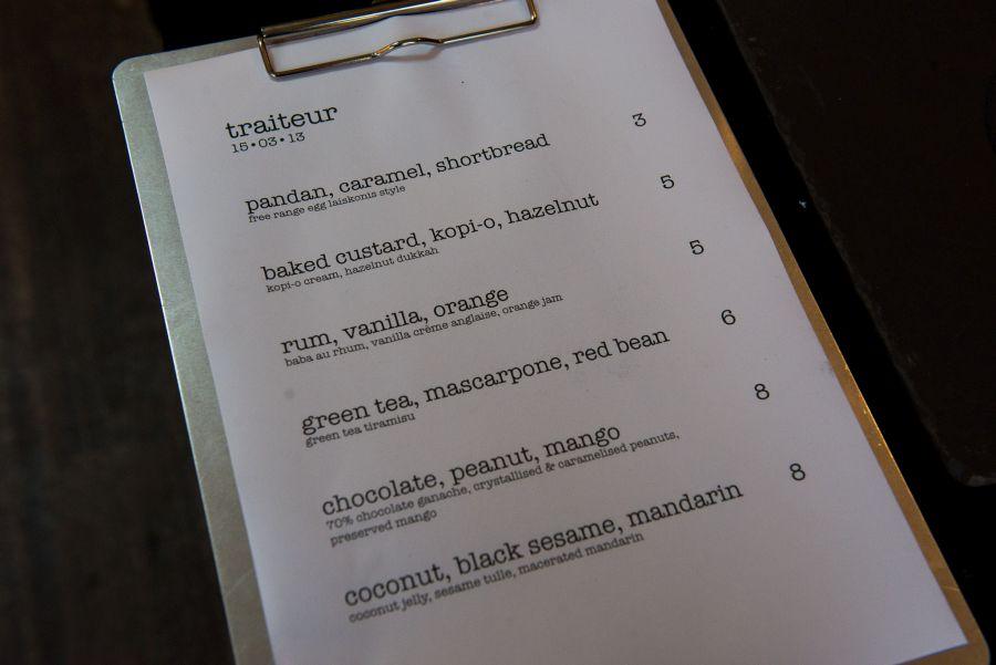 traiteur pop-up dessert bar menu