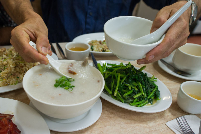Serving up roast duck porridge