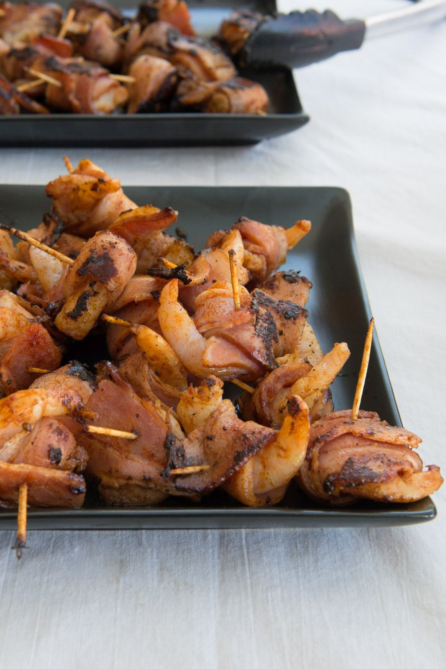 BBQ bacon-wrapped prawns