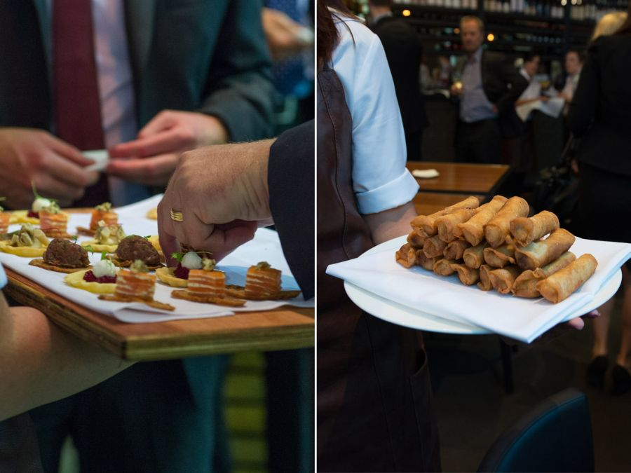 L-R: Canapes, pulled pork cigars