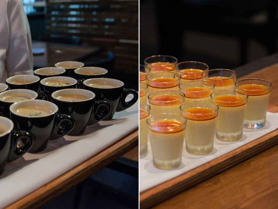 L-R: Duck and chestnut soup, creme caramel