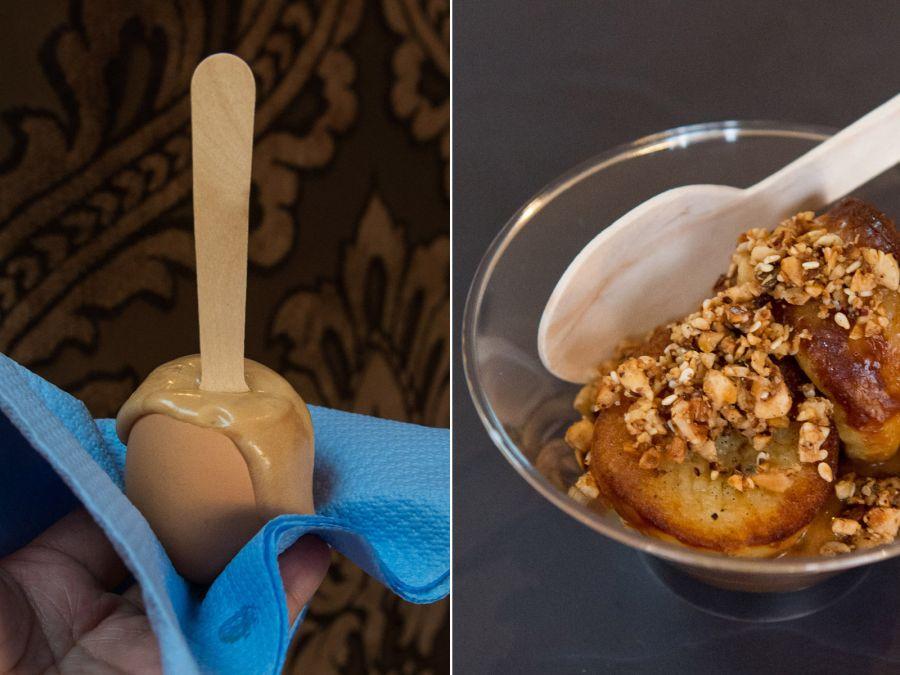 L-R: Pandan, caramel, shortbread (AU$3); Baked custard, kopi-o, hazelnut (AU$5)