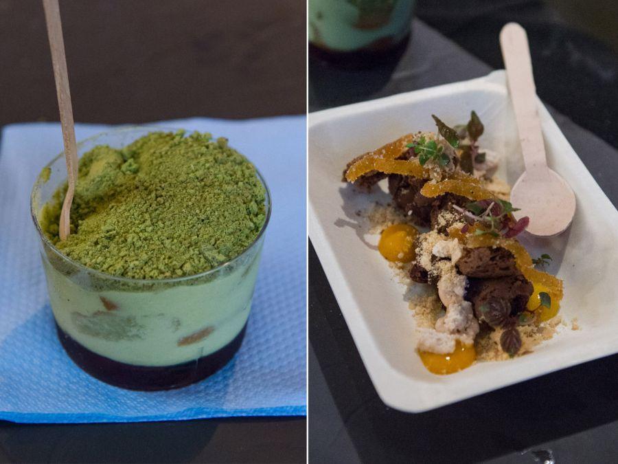 L-R: Green tea, marscapone, red bean (AU$6); Chocolate, peanut, mango (AU$8)