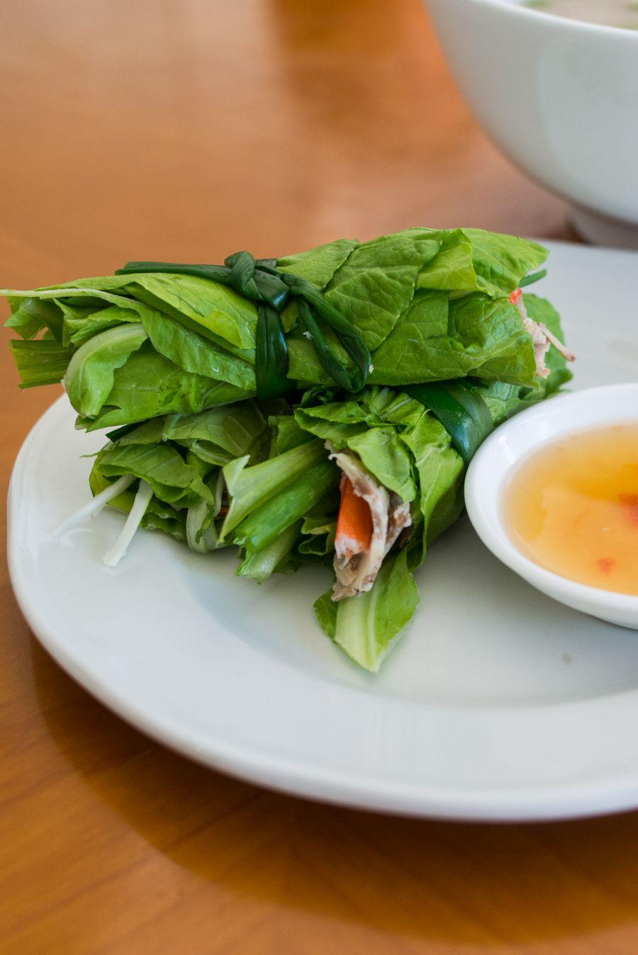 Goi Cuon U&I - prawn and pork with salad wrapped in green leaves (AU$6.50)