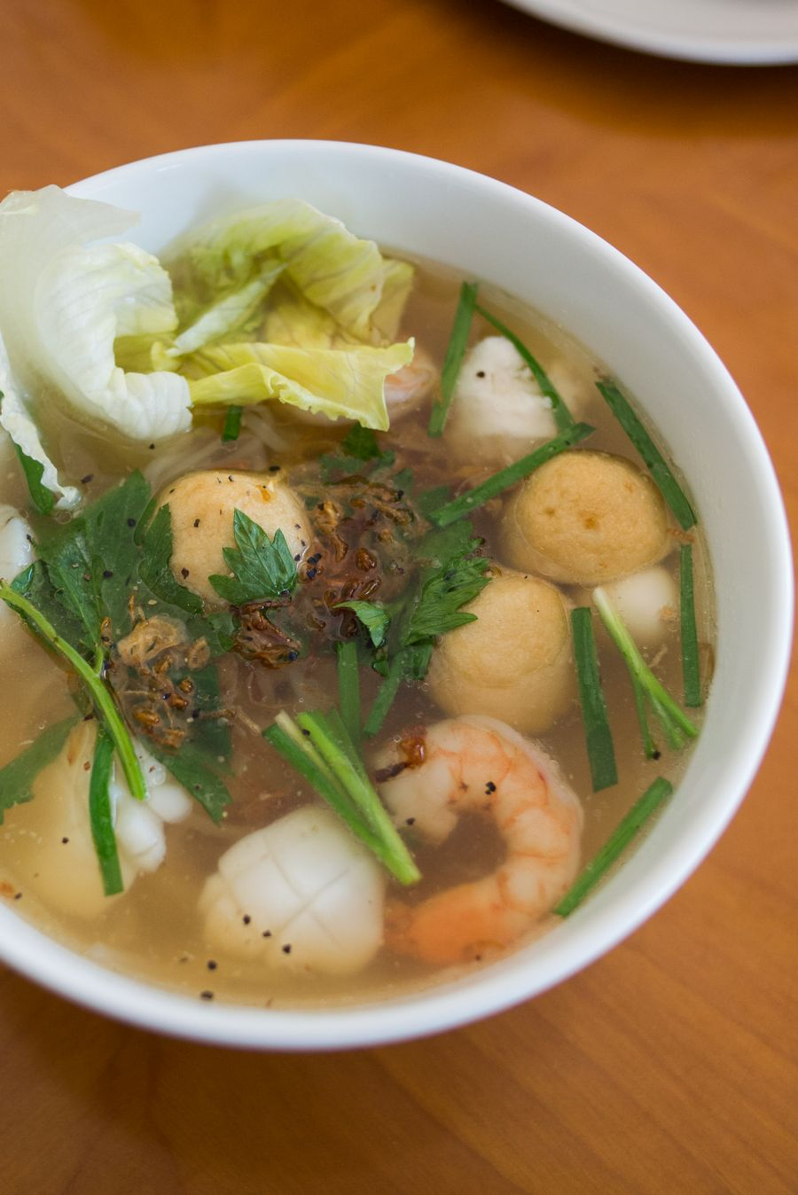 Hu Tieu Do Bien Nuoc - rice noodle soup with seafood, bean sprouts, chives, celery, onion (coriander was missing - AU$12)