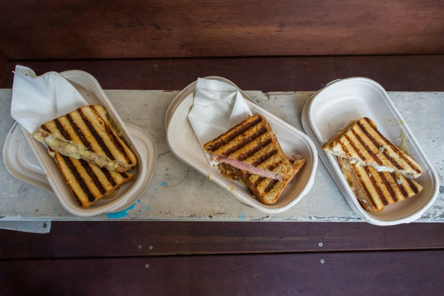 L-R: Brie & Jam (AU$9), Ham & Cheese (AU$7), Danny Zuccho (AU$8)