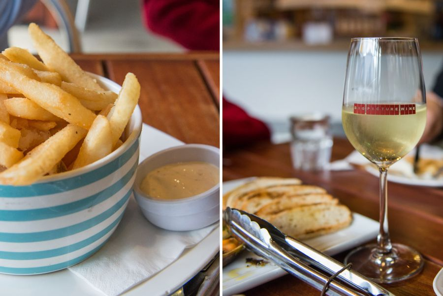Chips and dip, wine