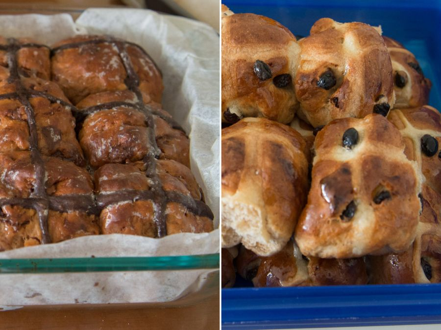 L-R: Juji's chocolate hot cross buns, Angela's fruity hot cross buns