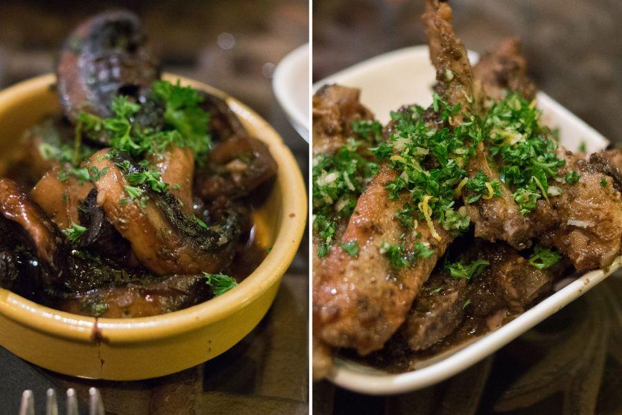 L-R: sherry mushrooms; Heritage breed piggy ribs