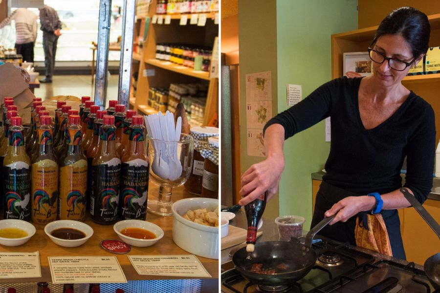 L-R: Tierra Brava chilli sauces; Frying up chorizo with Giureppe Giusti balsamic vinegar