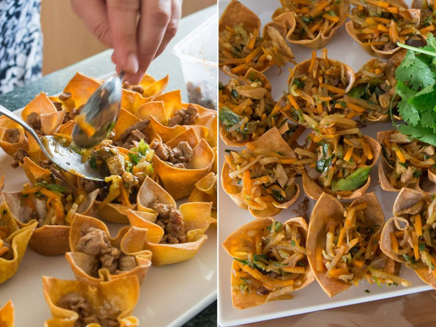 Pork and hoisin vegetable wantan cups