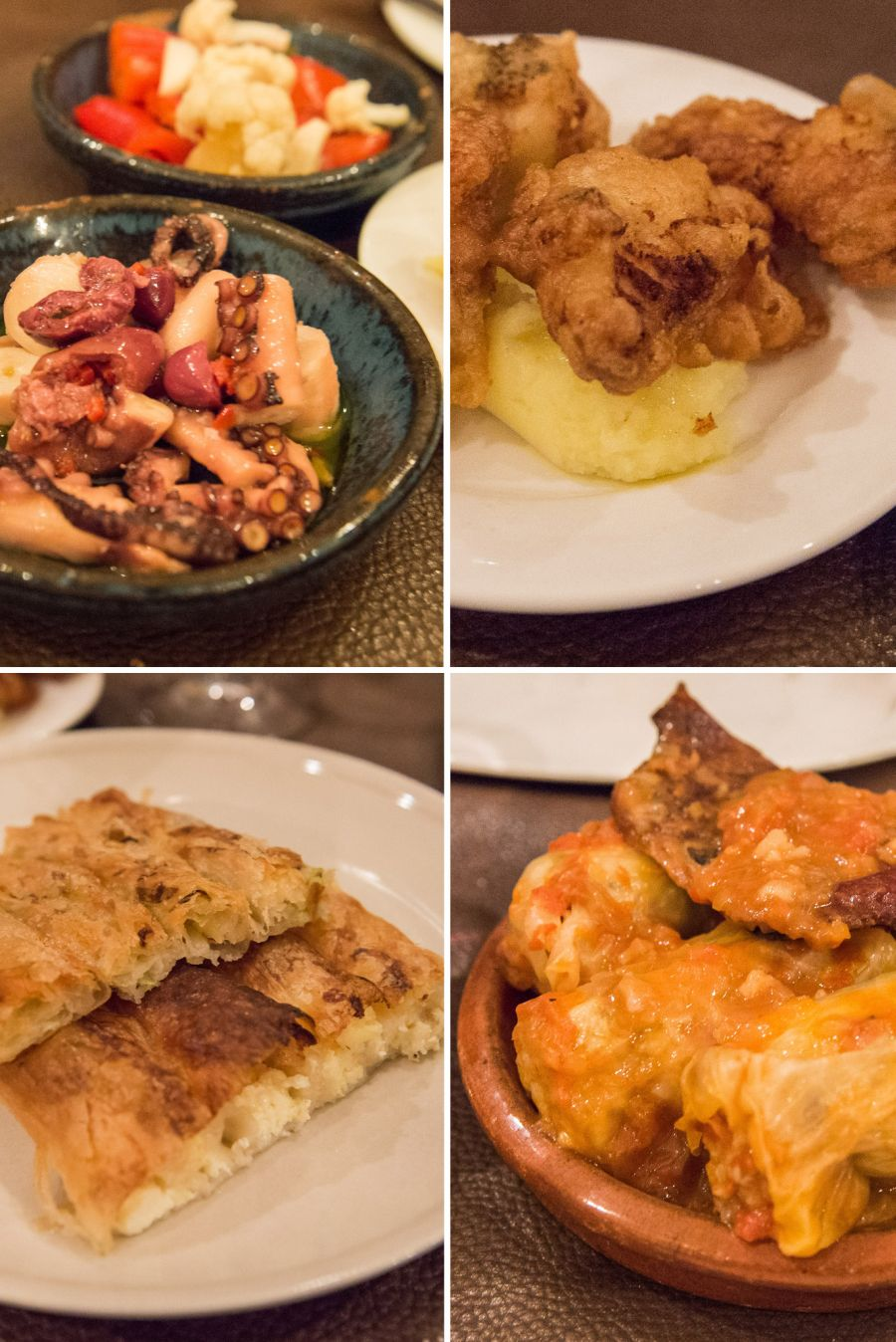 Clockwise from top left: salate od hobotnice (slow-cooked octopus, shallot, olive, EVOO); skordalia (shallow fried salt cod and garlicky potato puree); sarma (braised veal and pork, stuffed pickled cabbage, smoked bacon); guba so ciren (cheese and leek burek)