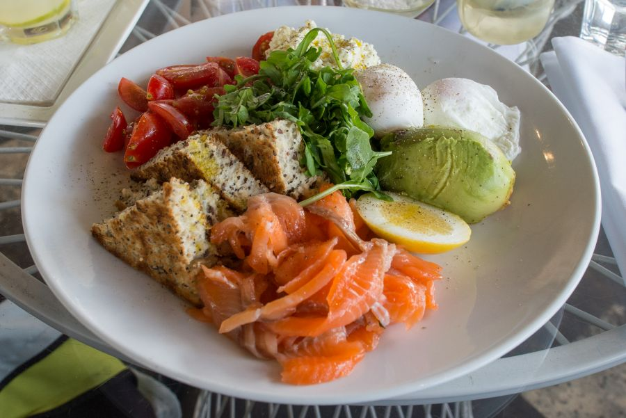 The Big Healthy (NZ$24.50) - house-cured salmon, fresh cottage cheese, poached free range eggs, baby horror tomatoes, Waihi avocado and pain cereales