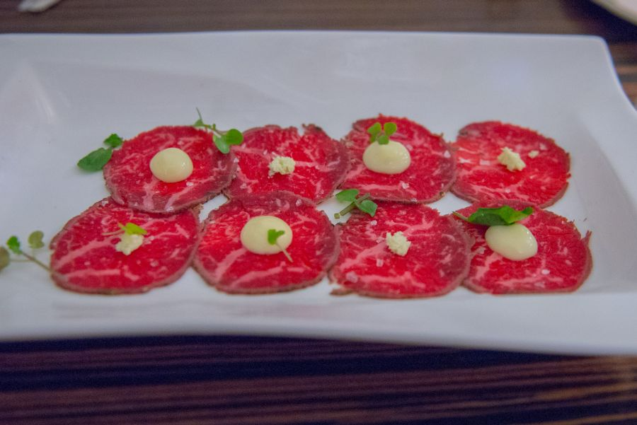 Wagyu carpaccio, smoked potato mousse, fresh wasabi, watercress (gf, AU$19)