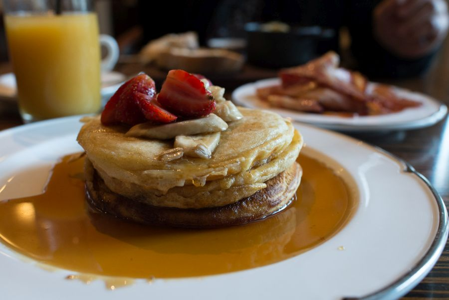 Pancakes, banana, maple syrup (AU$13)