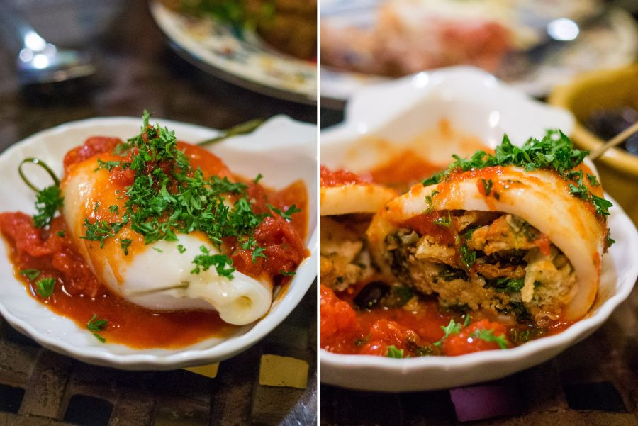 Stuffed calamari - stuffed with croutons, lemon zest, garlic, capers, parsley, black Spanish olives and pimenton picante, finished with smokey tomato sauce