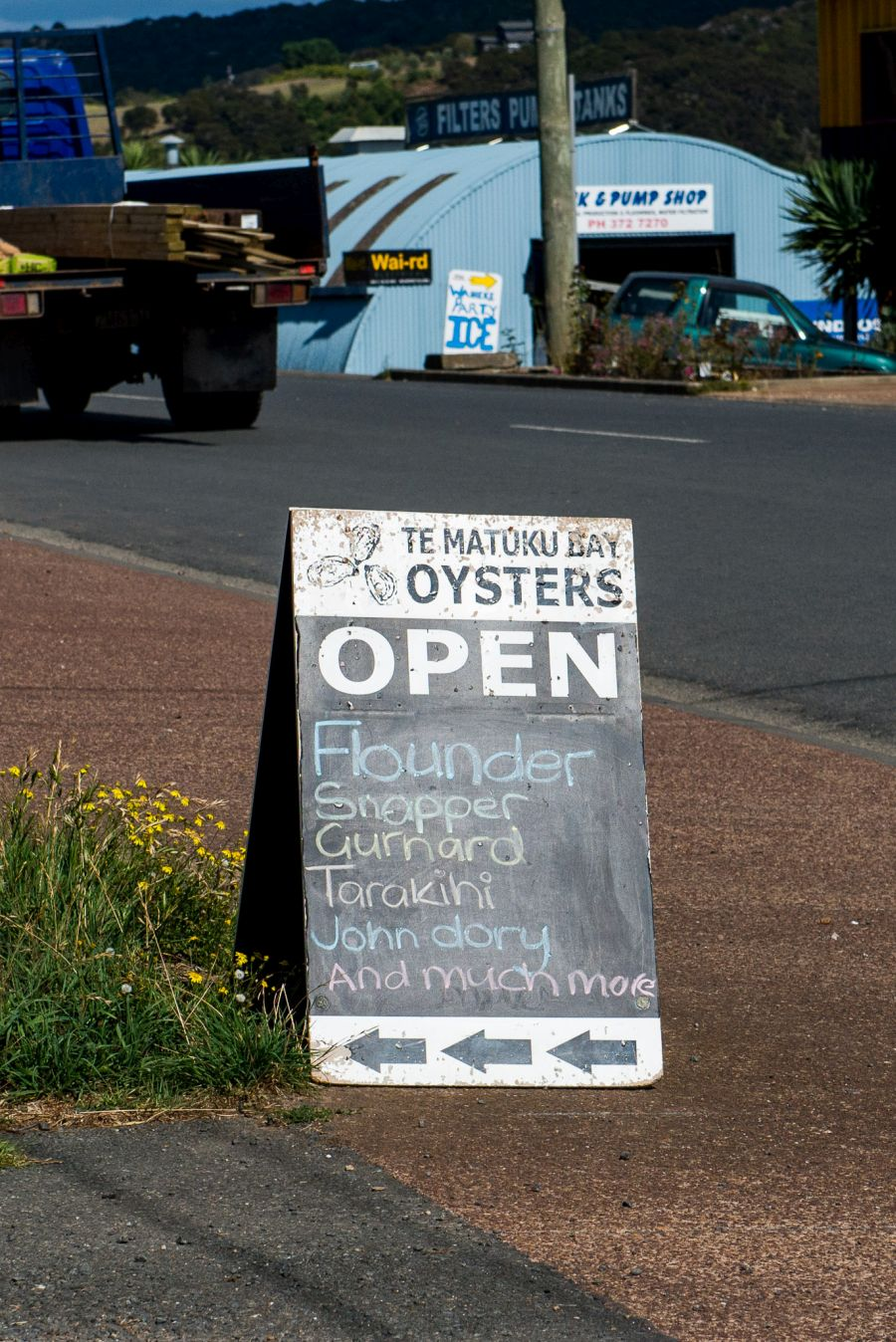Te Matuku Bay Oyster Shop sign