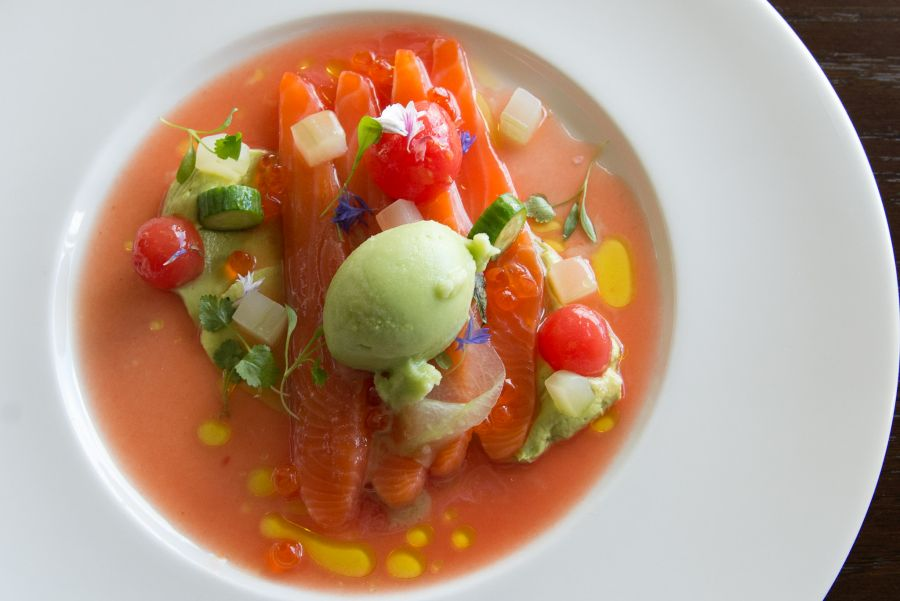 Cured Ora king salmon with watermelon, cucumber, avocado and wasabi (NZ$25)