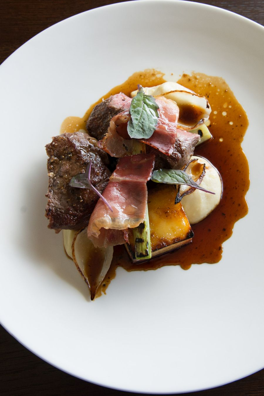 Hawke's Bay rib-eye with onion, leek, speck and truffle jus (NZ$45)