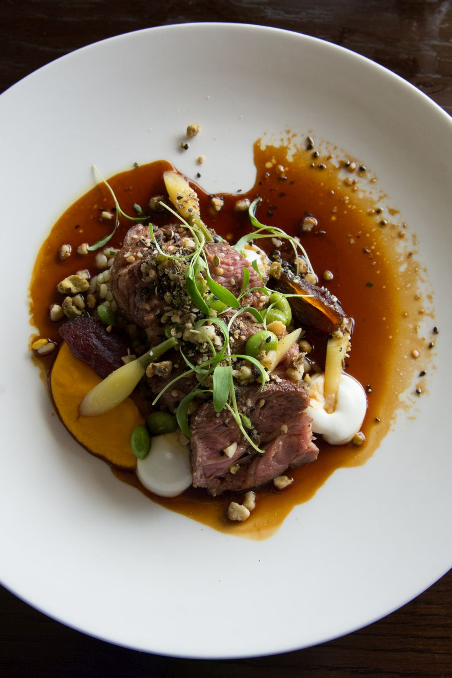 Southland lamb with carrots, date, wheat and sheep's yoghurt (NZ$45)
