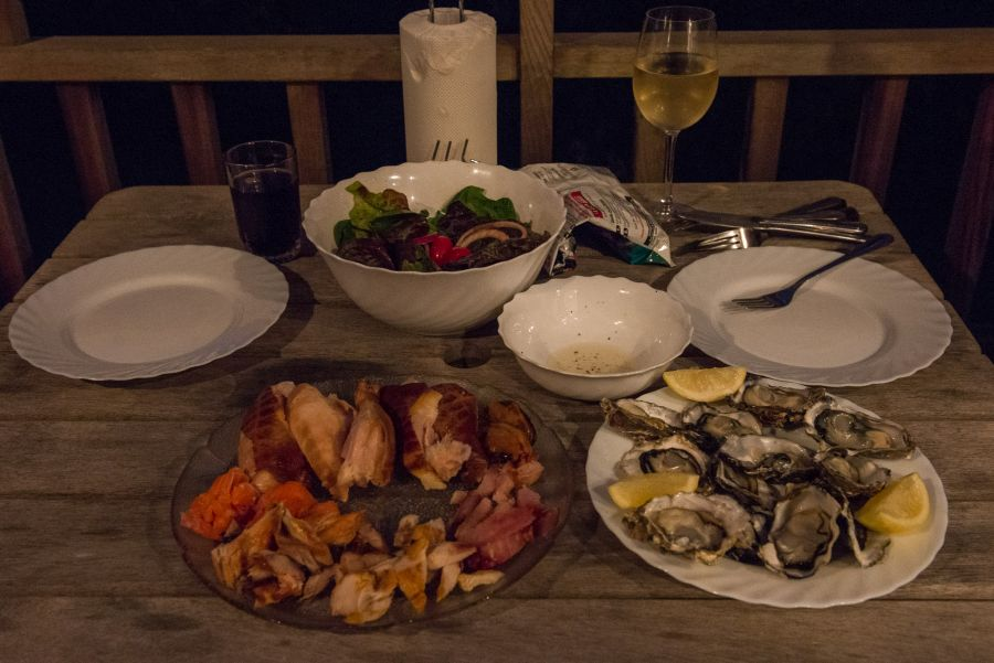 Te Matuku oysters and smoked seafood, smoked chicken and salad