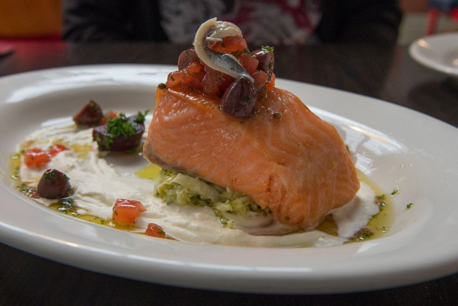 Confit salmon, savoy cabbage, white anchovy, sauce vierge, horseradish (NZ$22.50)