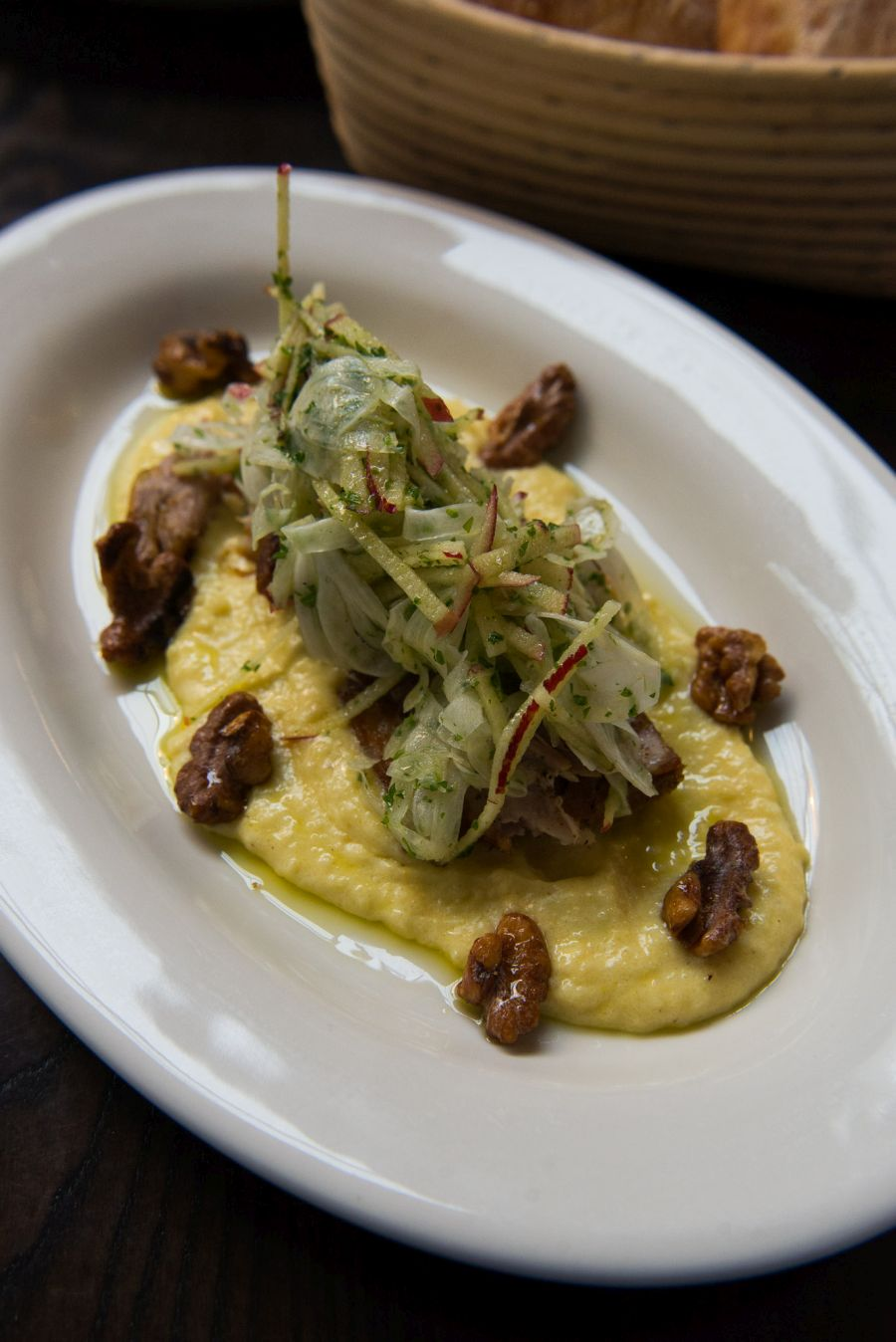 Pulled pork, white polenta, apple and fennel salad, pollen salt (NZ$26.50)