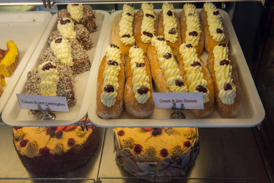 Cream and jam lamingtons, cream and jam doughnuts, cakes