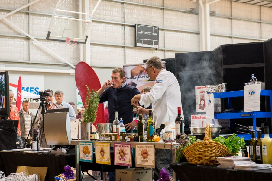 Local politician Christian Porter assists Don in the cooking demo