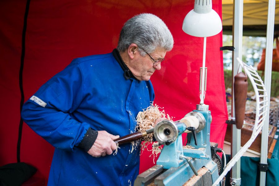 Ron demonstrates woodturning