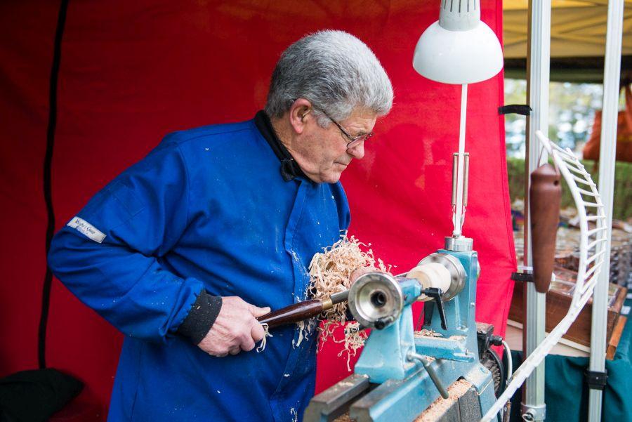 Ron demonstrates woodturning