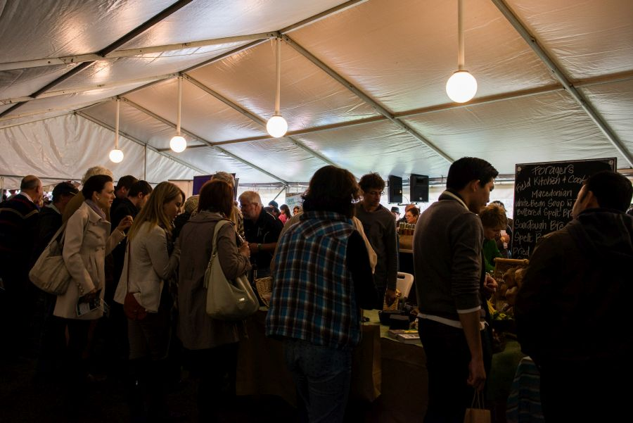 Packed inside the Farmers Market tent