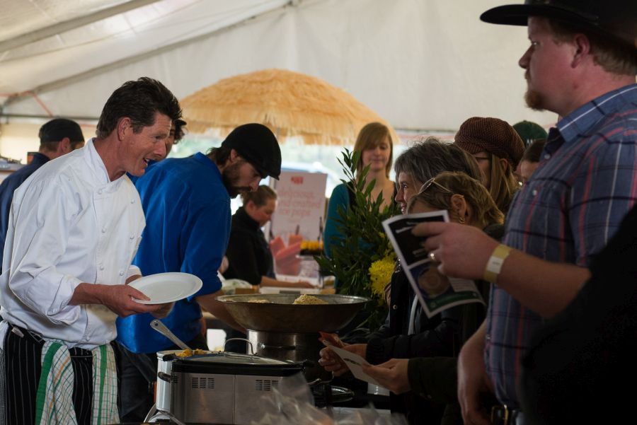 Chef David Coomer serving customers at his Xarcuteria stand