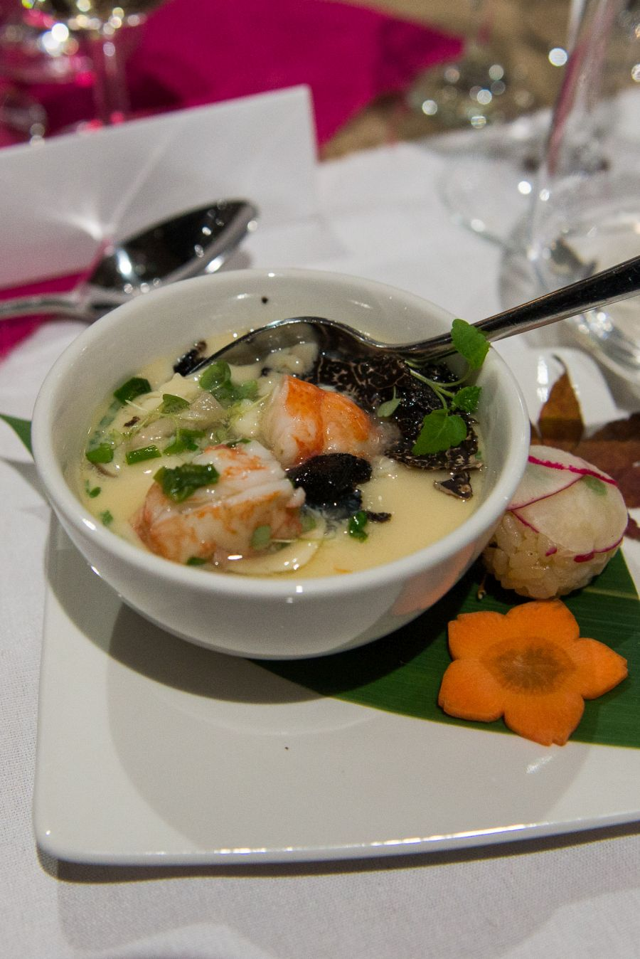 Marron, mushrooms and truffle in the chawan-mushi