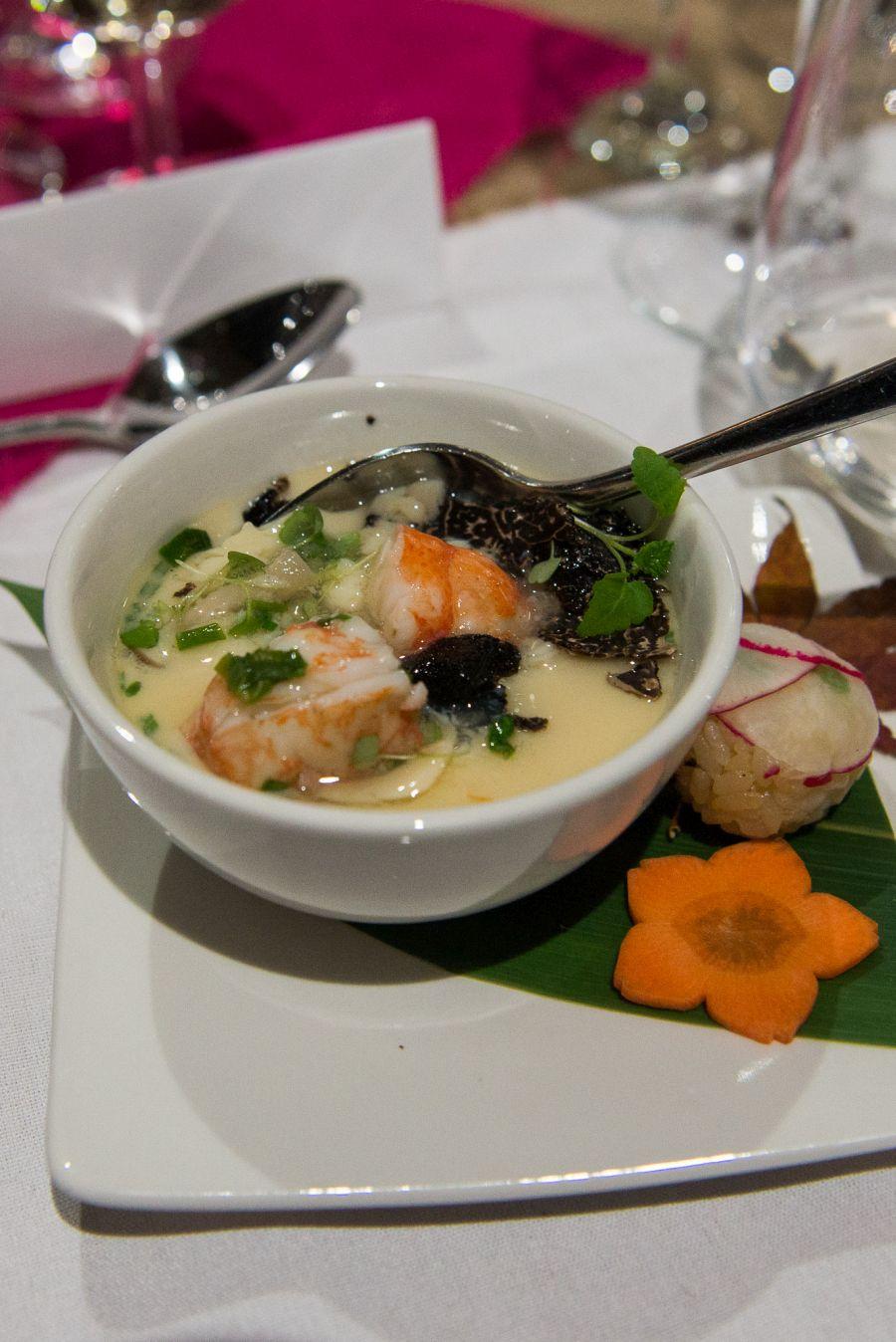 Marron, mushrooms and truffle in the chawan-mushi