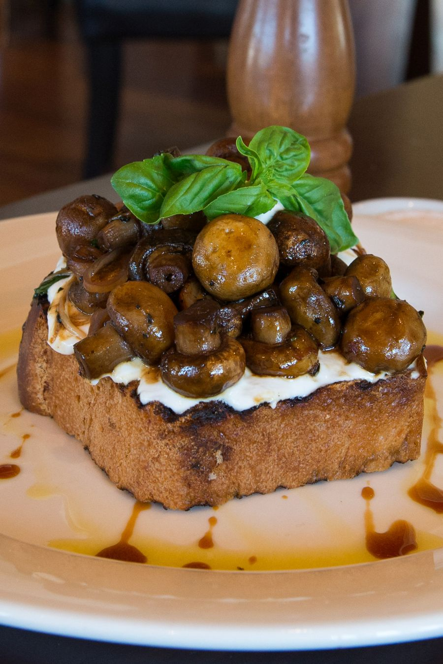 Mushrooms on toast (AU$15) with goats curd, basil and vincotto